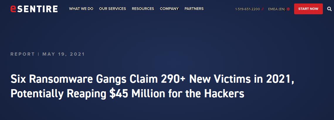 Ransomware – Gruppen erpressten im ersten Quartal 2o21 mindestens 45 Millionen Dollar